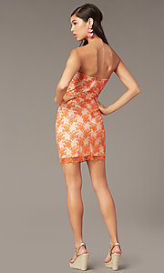 Image of orange short embroidered strapless party dress Style: FAN-AKD20113 Back Image