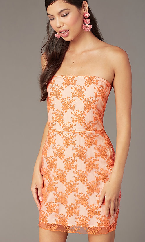 Image of orange short embroidered strapless party dress Style: FAN-AKD20113 Detail Image 1