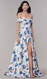 Image of long floral-print off-shoulder prom dress. Style: LT-LD50801H Front Image