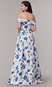 Image of long floral-print off-shoulder prom dress. Style: LT-LD50801H Back Image