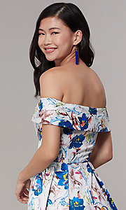 Image of long floral-print off-shoulder prom dress. Style: LT-LD50801H Detail Image 2