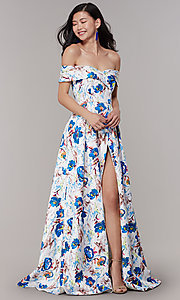 Image of long floral-print off-shoulder prom dress. Style: LT-LD50801H Detail Image 3