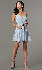 Image of light blue striped short wedding-guest party dress. Style: LT-LD50971Z Front Image
