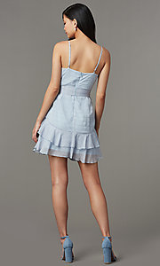 Image of light blue striped short wedding-guest party dress. Style: LT-LD50971Z Back Image