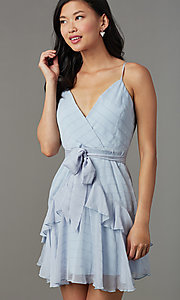 Image of light blue striped short wedding-guest party dress. Style: LT-LD50971Z Detail Image 1