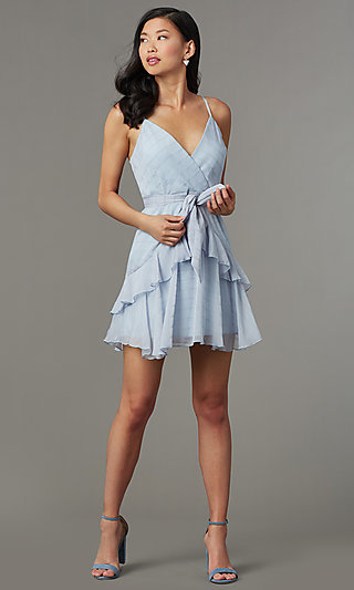 Light Blue Striped Short Wedding-Guest Party Dress