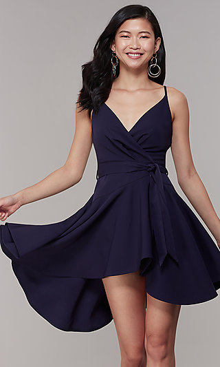 Mock-Wrap Short High-Low Party Dress