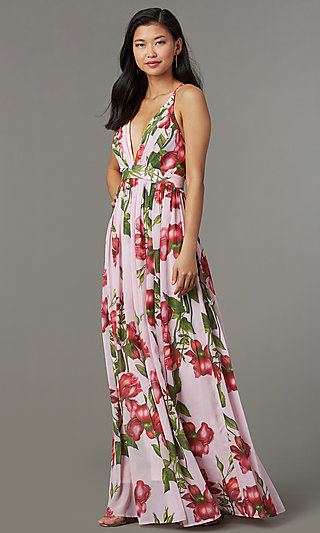 Maxi Length Floral Print Wedding Guest Dress