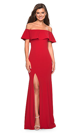 Fitted Off-the-Shoulder Prom Dress with La Femme