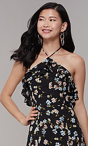 Image of long floral-print halter wedding-guest dress. Style: RO-R68001 Detail Image 1