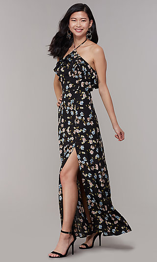 Long Floral-Print Halter Wedding-Guest Dress