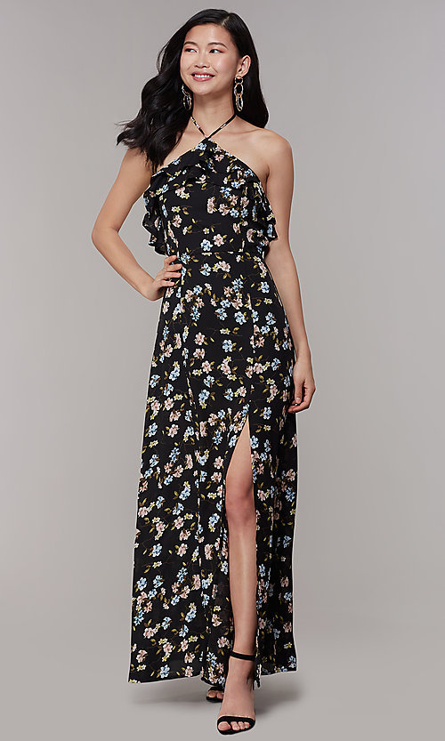 Image of long floral-print halter wedding-guest dress. Style: RO-R68001 Detail Image 3