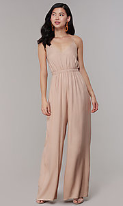 Image of wide-leg v-neck jumpsuit for wedding guests. Style: RO-R68257-1 Detail Image 3