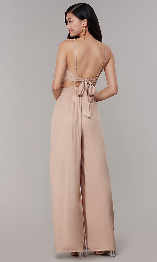Image of wide-leg v-neck jumpsuit for wedding guests. Style: RO-R68257-1 Back Image