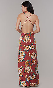 Image of maxi floral-print v-neck wedding-guest party dress. Style: RO-R68727 Back Image