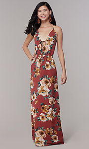 Image of maxi floral-print v-neck wedding-guest party dress. Style: RO-R68727 Detail Image 3