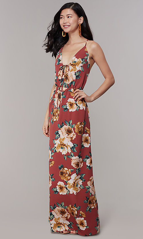 Image of maxi floral-print v-neck wedding-guest party dress. Style: RO-R68727 Front Image