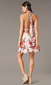 Image of floral-print v-neck short halter party dress. Style: RO-R68974-1 Back Image