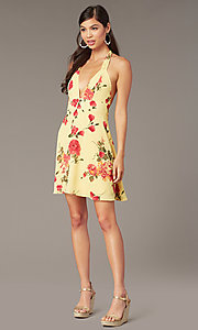 Image of floral-print v-neck short halter party dress. Style: RO-R68974-1 Detail Image 2