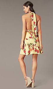 Image of floral-print v-neck short halter party dress. Style: RO-R68974-1 Detail Image 3