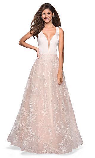 Embroidered Pink Ball Gown-Style Prom Dress a437a8fe6aa9