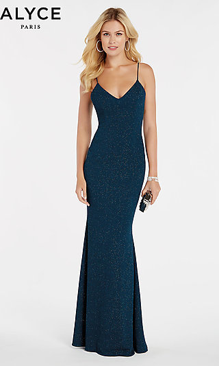 Long Glitter Jersey Fitted Alyce Prom Dress