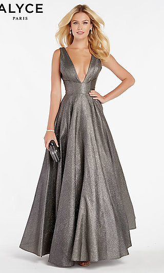 Long Metallic Prom Dress with an Open V-Back