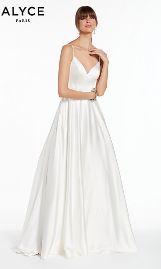 Long White A-Line Designer Prom Dress by Alyce