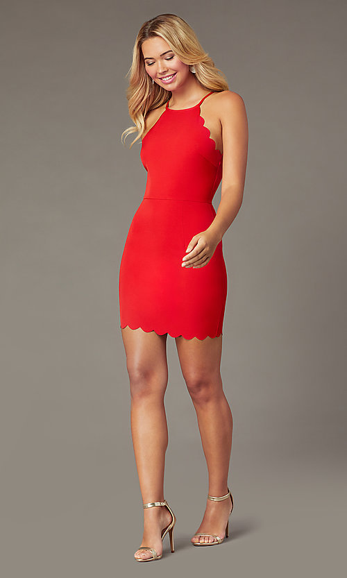 Image of short red party dress with scalloped trim. Style: MT-1087 Detail Image 1