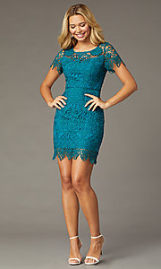Image of short-sleeve lace short party dress in teal. Style: MT-1077 Detail Image 1