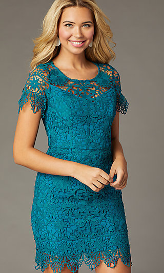 Short-Sleeve Lace Short Party Dress in Teal