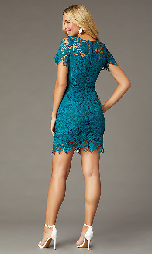 Image of short-sleeve lace short party dress in teal. Style: MT-1077 Back Image