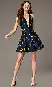 Image of navy blue short print wedding-guest party dress. Style: MT-1035 Front Image