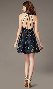 Image of navy blue short print wedding-guest party dress. Style: MT-1035 Back Image