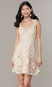 Image of short embroidered-lace-applique graduation dress. Style: JTM-JMD10396 Front Image
