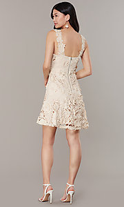 Image of short embroidered-lace-applique graduation dress. Style: JTM-JMD10396 Back Image