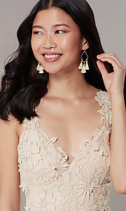 Image of short embroidered-lace-applique graduation dress. Style: JTM-JMD10396 Detail Image 1