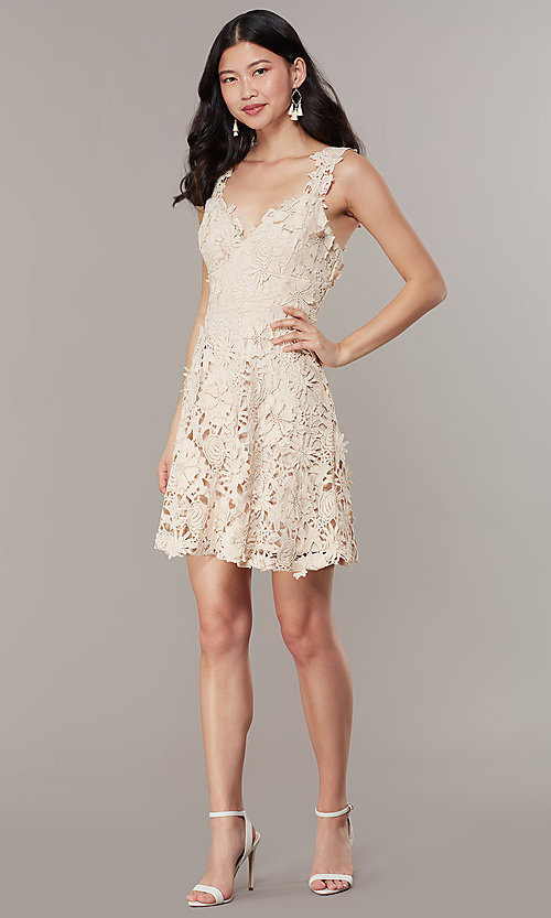 Image of short embroidered-lace-applique graduation dress. Style: JTM-JMD10396 Detail Image 2