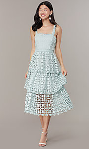 Image of midi tiered-lace sage green wedding-guest dress. Style: JTM-JMD10613 Front Image