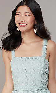 Image of midi tiered-lace sage green wedding-guest dress. Style: JTM-JMD10613 Detail Image 1