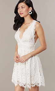 Image of embroidered-lace ivory short graduation dress. Style: JTM-JMD10621 Detail Image 1