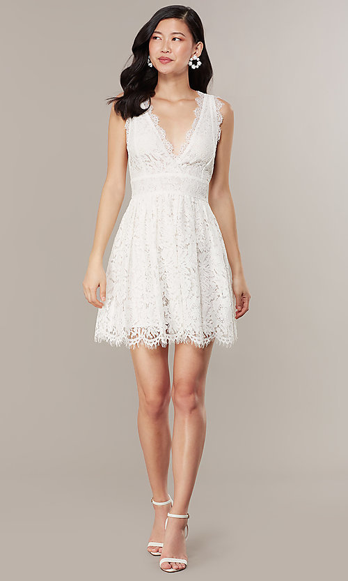 Image of embroidered-lace ivory short graduation dress. Style: JTM-JMD10621 Front Image