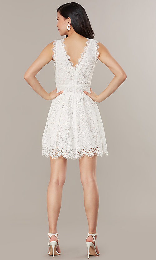 Image of embroidered-lace ivory short graduation dress. Style: JTM-JMD10621 Back Image