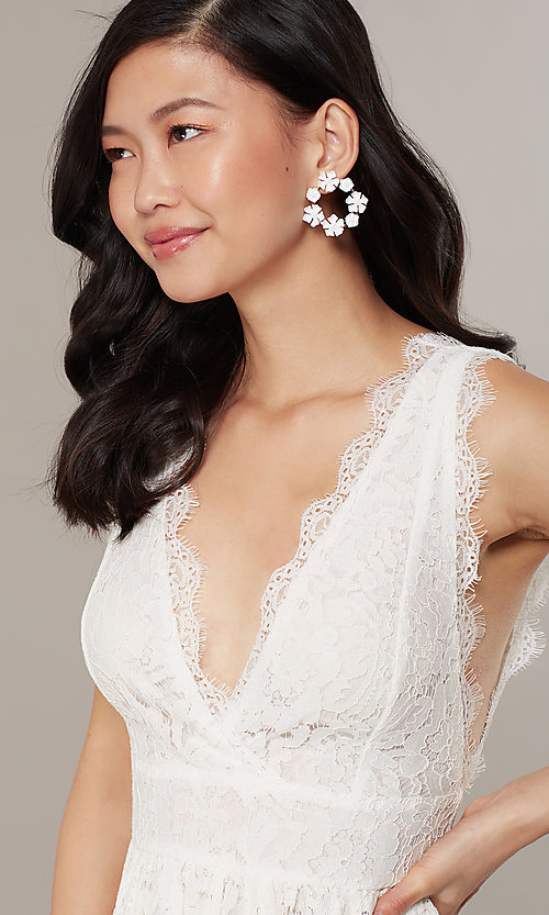 Image of embroidered-lace ivory short graduation dress. Style: JTM-JMD10621 Detail Image 2