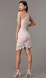 Image of embroidered-lace short sheath wedding-guest dress. Style: JTM-JMD10348 Back Image