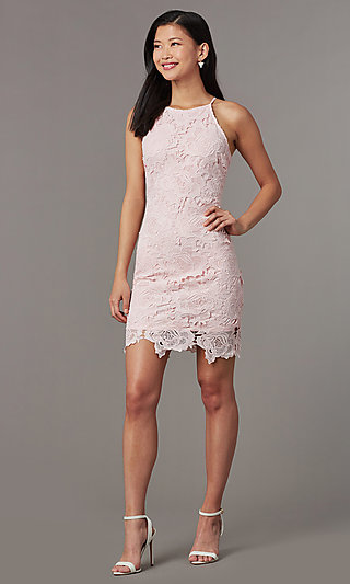 Short Embroidered Lace Wedding Guest Dress