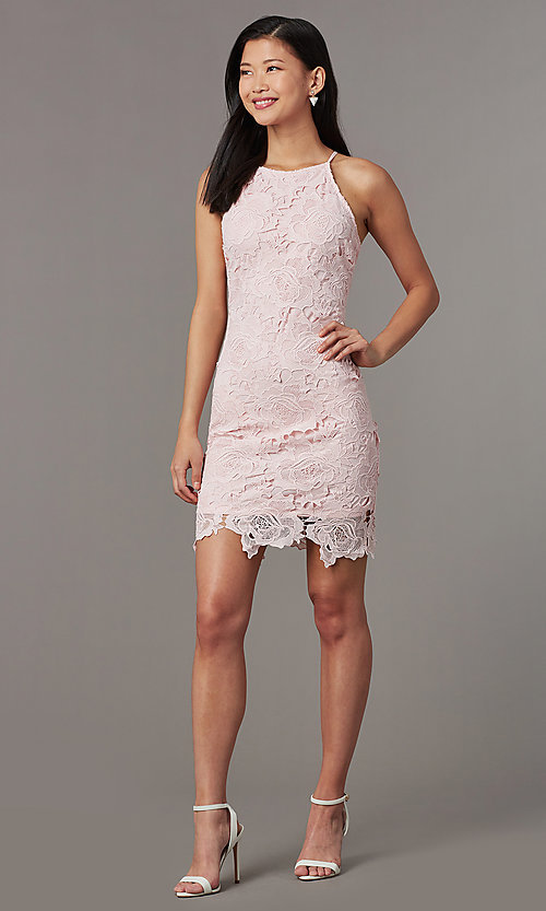 Image of embroidered-lace short sheath wedding-guest dress. Style: JTM-JMD10348 Front Image