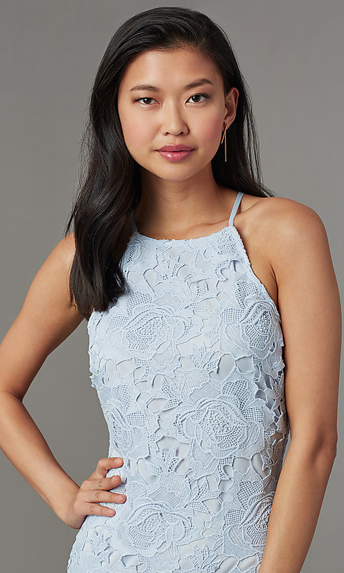 Image of heather blue short lace wedding-guest party dress. Style: JTM-JMD10348-H Detail Image 1