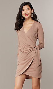 Image of long-sleeve glitter-knit front-wrap party dress. Style: CHE-D16097CXJ Detail Image 4