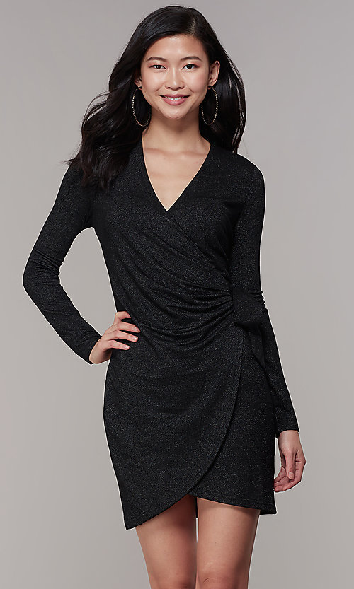 Image of long-sleeve glitter-knit front-wrap party dress. Style: CHE-D16097CXJ Front Image